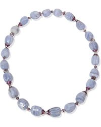 Mara Hotung 18kt Black & White Gold Chalcedony & Pink Sapphire Necklace