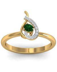 Diamoire Jewels - 18kt Yellow Gold Pave 0.04ct Diamond Infinity Ring With Emerald - Lyst
