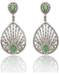 Kastur Jewels Rambagh Peacock Fan Emerald And Diamond Bridal Earrings - Multicolour