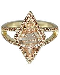 Shimmer by Cindy Yellow Gold Plated Kite Ring With Clear Glass Stone - Metallic