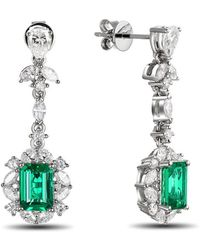 SILVER YULAN - Emerald Diamond Earrings - Lyst