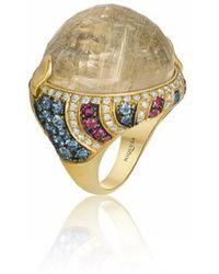 Niquesa Fine Jewellery - Venice Pulcinella Golden Rutile Cabochon Quartz Ring - Lyst