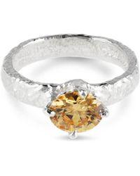 Paul Magen - Sterling Silver & Champagne Zirconia Teneo Ring   - Lyst