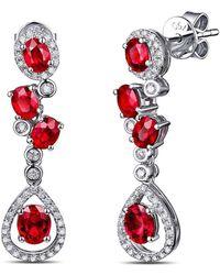 SILVER YULAN - Cushion Cut Ruby Diamond Earrings - Lyst