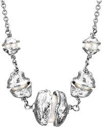 Joseph Lamsin Jewellery Cornish Seawater Cast Graduated Pearl Encased Sterling Silver Necklace - Metallic