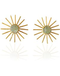 Bhagat Jewels 18kt Gold Plated Brass Rough Aquamarine March Birthstone Post Studs Earrings - Yellow