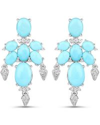 Olivia Leone Rhodium Plated Silver Delicate Turquoise Earrings - Blue