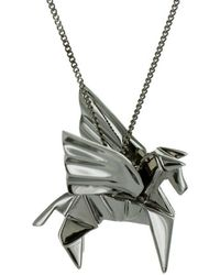 Origami Jewellery - Pegaze Black Silver Necklace - Lyst