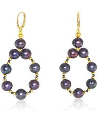 Regenz - Gold Dangle Black Velvet Earrings With Sapphires - Lyst