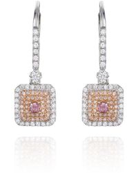 Ortaea Fine Jewellery 18kt White Gold Pink Diamond Eternum Drop Earrings - Metallic