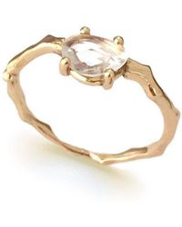 Brandts Jewellery - Twig Engagement Ring In Gold With White Sapphire - Lyst