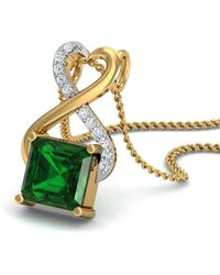 Diamoire Jewels Nature Inspired Prong Set Brazilian Emerald and Diamond Pendant in 18kt Yellow Gold LL04r