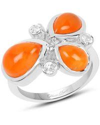 Olivia Leone Rhodium Plated Silver 3-stone Carnelian Ring - Multicolour