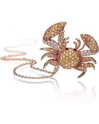 Pinomanna - Rose Gold & Sapphire Natural Chic Crab Necklace | - Lyst