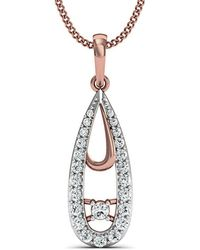 Diamoire Jewels - Hand-carved 10kt Rose Gold Water-drop Diamond Pendant - Lyst