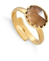 SVP Jewellery 18kt Yellow Gold Plated Silver Sunday Girl Smoky Quartz Adjustable Ring - Brown