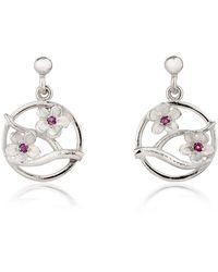 Fiona Kerr Jewellery Silver Cherry Blossom Drop Earrings With Garnets - Pink