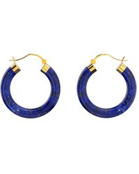 MARCELLO RICCIO Yellow Gold Plated Sterling Silver Lapis Lazuli Hoop Earrings - Blue