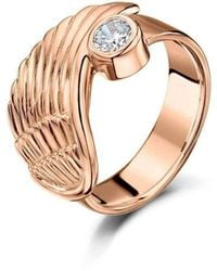Becky Rowe - Rose Gold & Cubic Zirconia Angel Wing Ring | - Lyst