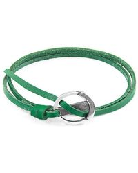 Anchor & Crew - Fern Green Ketch Silver And Leather Bracelet - Lyst