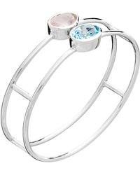 Augustine Jewels - Sky Blue Topaz And Rose Quartz Double Bangle - Lyst