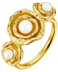 Joseph Lamsin Jewellery - Cornish Seawater Cast Gold Vermeil Handmade Pearl Cocktail Ring - Lyst