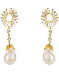 LÁTELITA London Baguette Baroque Pearl Drop Earrings Gold - Metallic