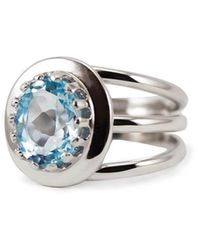 Vintouch Italy Rhodium Plated Silver Luccichio Blue Topaz Spiral Ring - Metallic