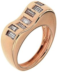 Botta Gioielli - Rose Gold Wave Diamonds Code Ring - Lyst