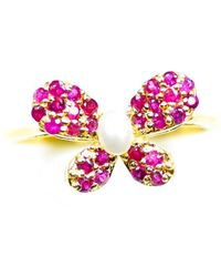 ERAYA 14kt Yellow Gold Butterfly Ring With Ruby & Pearl - Multicolor