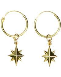 Alison Fern Jewellery North Star Mini Hoop Earrings - Metallic