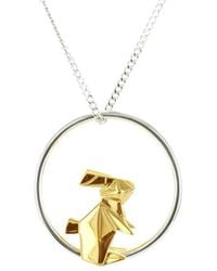 Origami Jewellery Sterling Silver & Gold Rabbit Circle Origami Necklace