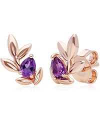 Gemondo Jewellery Gemondo Rose Gold O Leaf Amethyst Stud Earrings - Pink