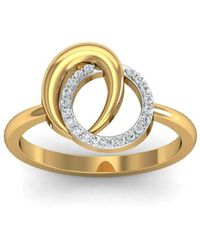 Diamoire Jewels - 18kt Yellow Gold Pave 0.08ct Diamond Infinity Ring With Emerald - Lyst