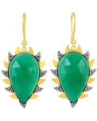 Meghna Jewels - Claw Drop Earrings Green Onyx & Diamonds Alt - Lyst