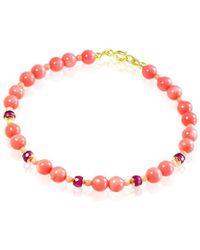 Regenz - Gold Angel Skin Coral Bracelet With Rubies - Lyst
