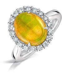 Clearwater Diamonds Ethiopian Opal And Diamond Cluster Ring - Metallic