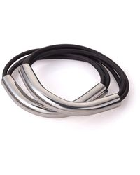 Noritamy - 2 Tubes And Silicon Bracelets Silver Tone - Lyst