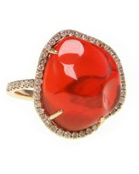 Ri Noor Lava Fire Opal And Diamond R - Red