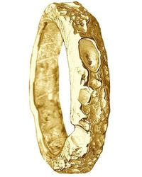 Joseph Lamsin Jewellery Cornish Beach Sand Textured 9kt Yellow Gold Wedding Ring - Multicolor