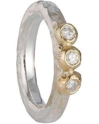 Kate Chell Jewellery - Hammered 3 Diamond Ring - Lyst