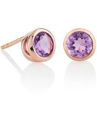 MANJA Jewellery Juliet Rose Gold Amethyst Earrings - Multicolor