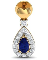 Diamoire Jewels - Hand-carved 14kt Yellow Gold Diamond And Pear Cut Sapphire Earrings Inspired By Nature - Lyst