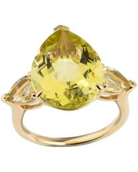 Emily Mortimer Jewellery - Aqua Lemon Quartz Pear Ring - Lyst
