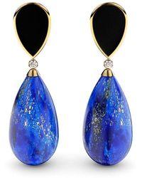 MARCELLO RICCIO Gold Plated Silver, Lapis Lazuli, Agate & Diamond Earrings - Black