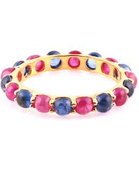 Trésor 18kt Yellow Gold Round Cabochon Eternity Ring With Ruby & Blue Sapphire - Multicolour