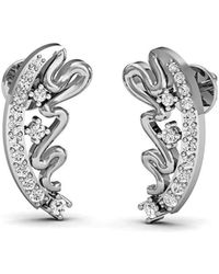 Diamoire Jewels Hand-carved Earrings in 18kt White Gold with Round Cut Diamonds 5xrVTu37