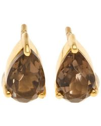 Silk And Steel - Gold On Point Earrings With Smokey Quartz - Lyst