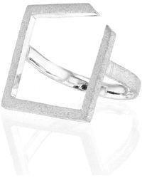 Ilda Design Silver Ring With Square Top - Metallic