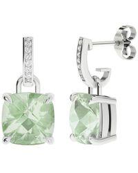StyleRocks Green Amethyst 9kt White Gold And Diamond Drop Earrings